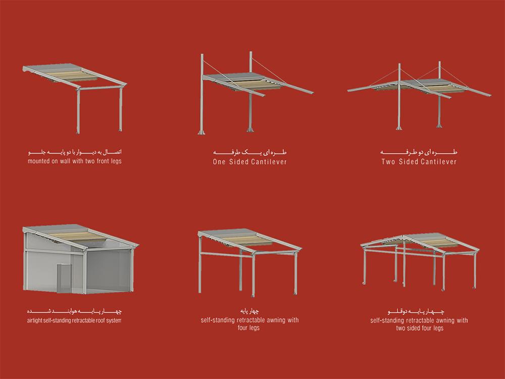 تنوع حالت نصب سازه چادری متحرک